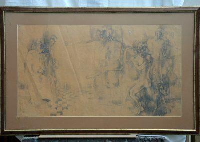 296. Bohócok. 1966. (60x93 cm) ceruzarajz