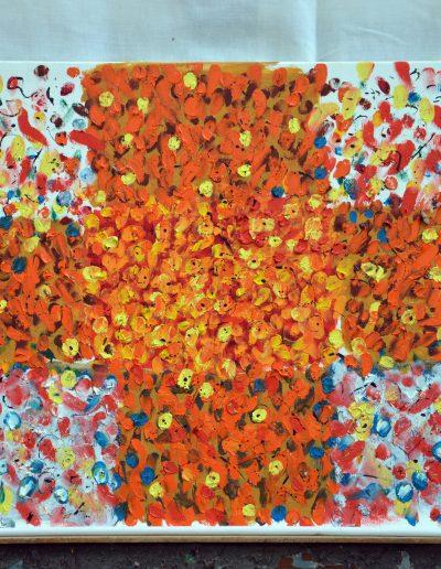 346. Sárga virágok a kertben 2014.04.18.(40x50 cm) olaj, vászon