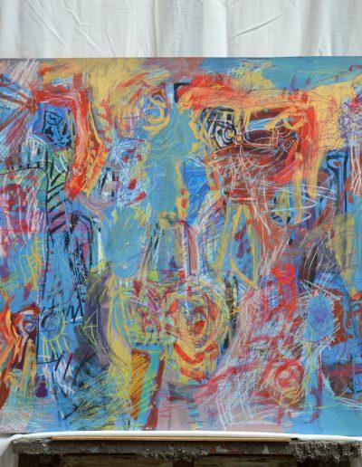 351.Rajz a falon I év nélkül (74x122 cm) olaj, kréta, farost