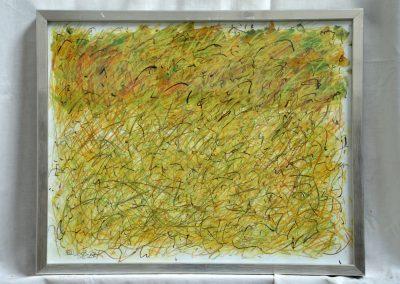 397. Zöldes-sárga kert 2008.(30x40 cm) papír, zsírkréta