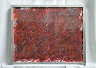 398. Éjszaka pirosló fénnyel 2008. (30x40 cm) papír, zsírkréta