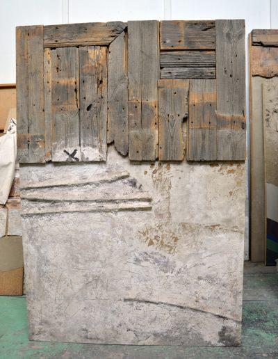 414. Bedeszkázott fal 1992.02.21. (160x110 cm) v.t.