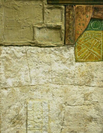 89. Okker zöld jelek 2008. (58x43 cm) v.t.
