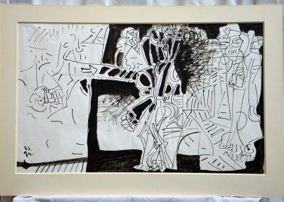 504. Háború IX. Belövés a házba 1973-1974. (41x68 cm) v.t.